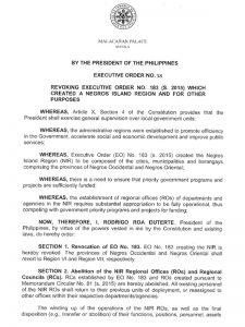Executive Order 38-Duterte revokes NIR