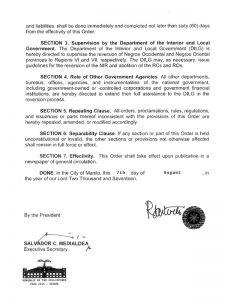Executive Order 38-No NIR