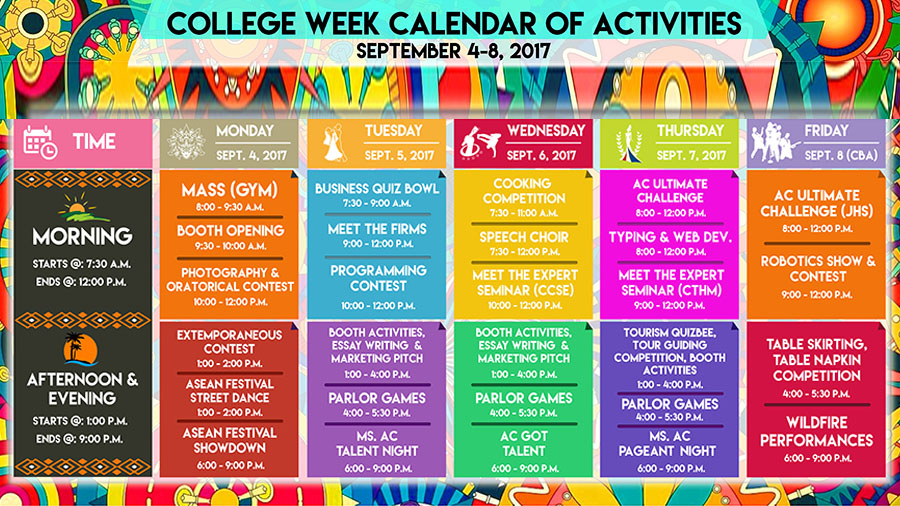 Asian College (ACSAT Dumaguete) - College Week - Schedule of activities
