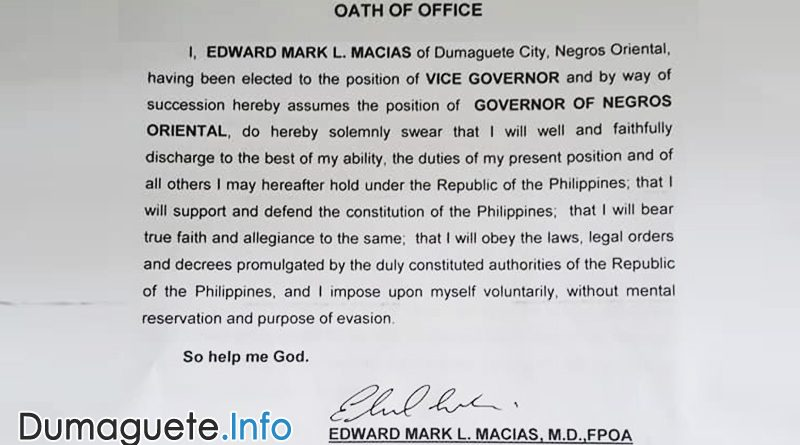 Edward Mark L. Macias - Governor Negros Oriental Oath