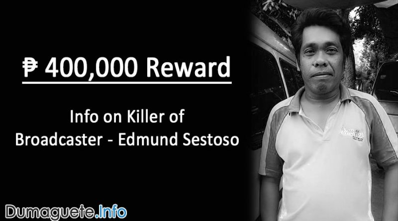 400,000 Peso Reward for Info on Edmund Sestoso Local Broadcaster's Killer in Dumaguete City