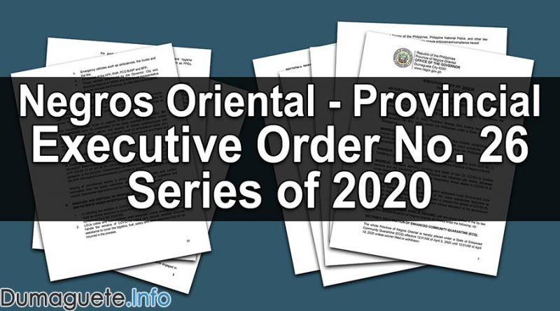 Negros Oriental Executive Order No. 26 Series of 2020