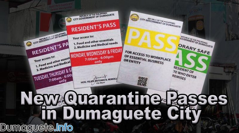 New Quarantine Passes in Dumaguete City (Red & Purple)