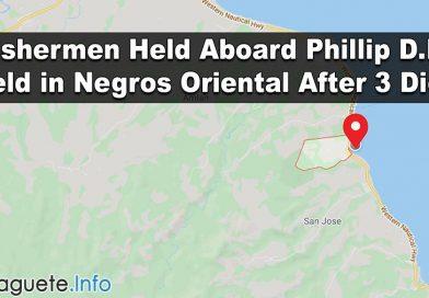 Fishermen Held Aboard Phillip D.R. Held in Negros Oriental After 3 Died