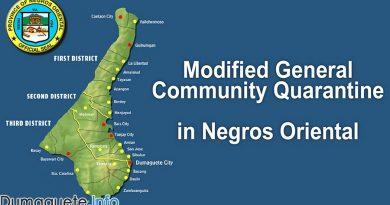 Negros Oriental Downgraded to Modified General Community Quarantine