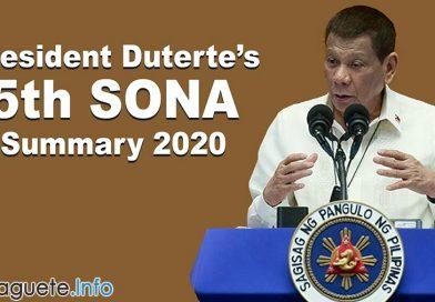 President Duterte's 5th SONA Summary 2020