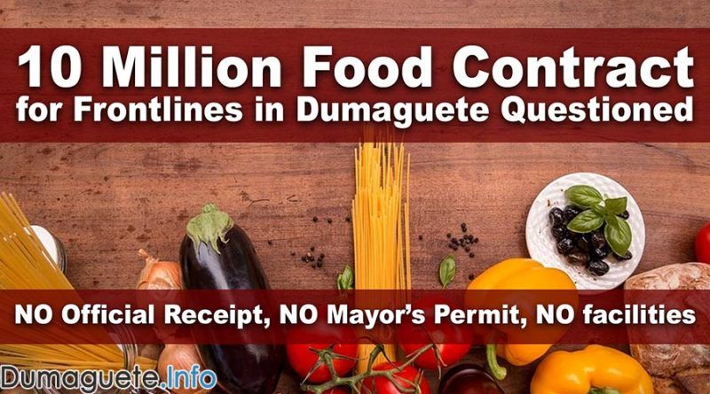 10 Million Food Contract for Frontliners in Dumaguete Questioned