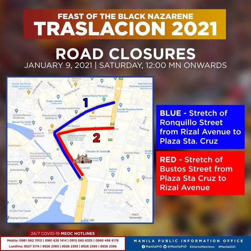 Traslacion 2021 - Road Closure in Manila