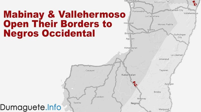 Mabinay and Vallehermoso Open Their Borders to Negros Occidental
